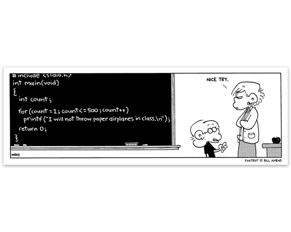 "FoxTrot Magnet - 'Chalkboard Code' comic strip by Bill Amend - Approx 6"" x 2"" lightweight, flexible and perfect for refrigerators, lockers, whiteboards, etc. A great gift for coders/programmers! - coding, comic strip, comics, funny, school, sunday funnies, teacher"