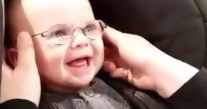 Baby sees mom's face for the first time