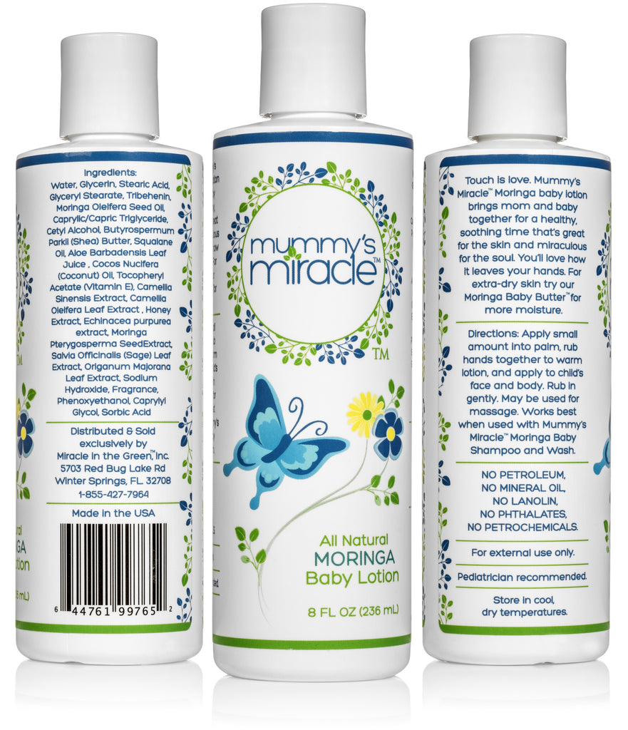 Mummy's Miracle Moringa Baby Lotion 8oz All Natural Hypoallergenic Toxic-free
