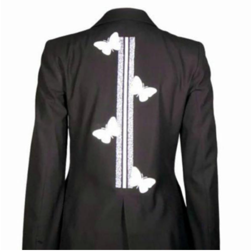White Butterflies with Silver/White Stripe Black Blazer