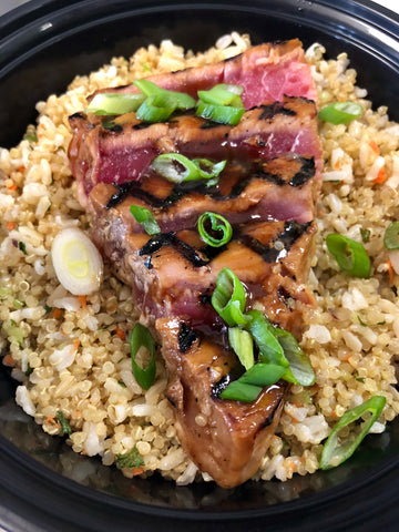 Grilled Ahi Tuna Steak over Brown Rice & Quinoa Fusion