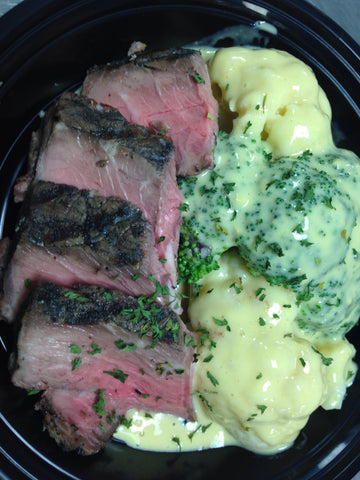 Top Sirloin Steak with Broccoli Paleo Cauliflower Mac and Cheese