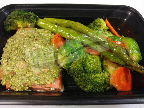 Pesto-Rubbed Salmon with Roasted Veggies