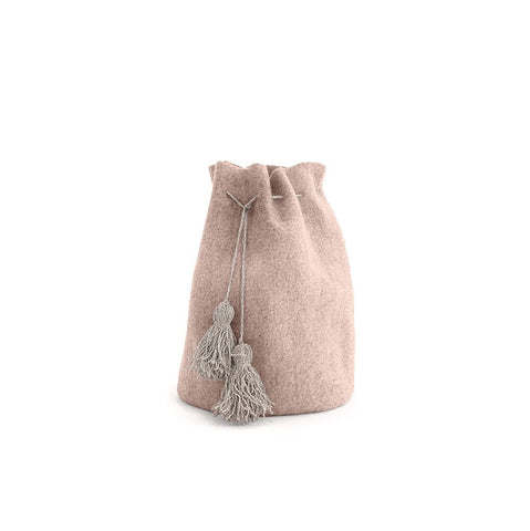 High calabash 100 % felt with hemp pompons / rose quartz / XXL d 40 cm h 65 cm