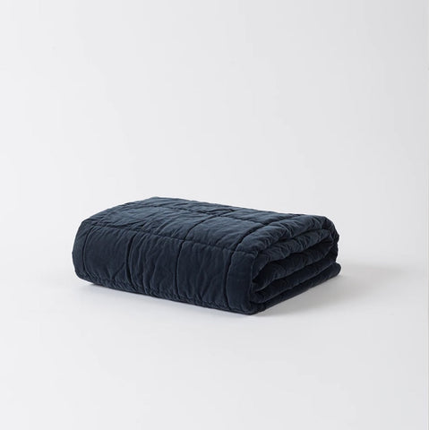 Citta Washed Velvet Square Stitch Quilted Throw Midnight