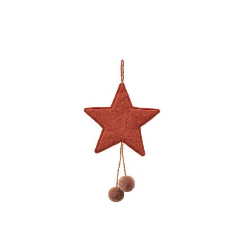 Star with pompons - felt & wool / coral - quartz pink 16cm