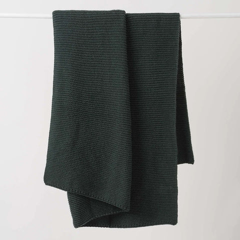 Citta Purl Knit Wool Throw  Nori