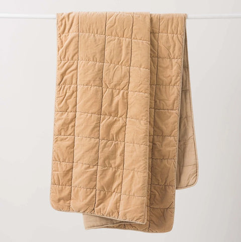 Citta Washed Velvet Quilted Throw Crumb