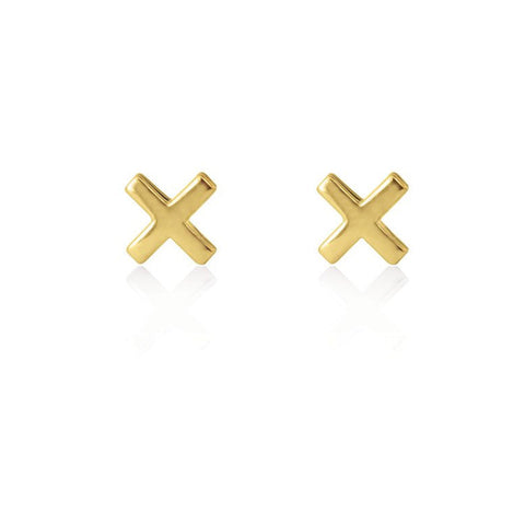 Linda Tahija Cross Stud Earrings - Yellow Gold