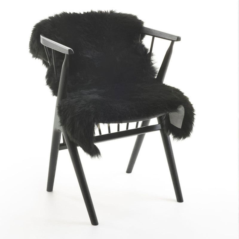 Long Wool Sheepskin Black