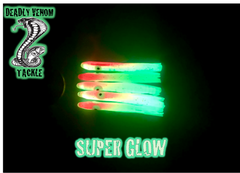 MICRO HOOCHIE UV ENHANCED - BLOODY MELON SUPER GLOW W/SLIVER FLAKE 5PK