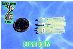 "MICRO HOOCHIE UV ENHANCED - SUPER GLOW W/SILVER FLAKE 5PK ""MHGLOW036"