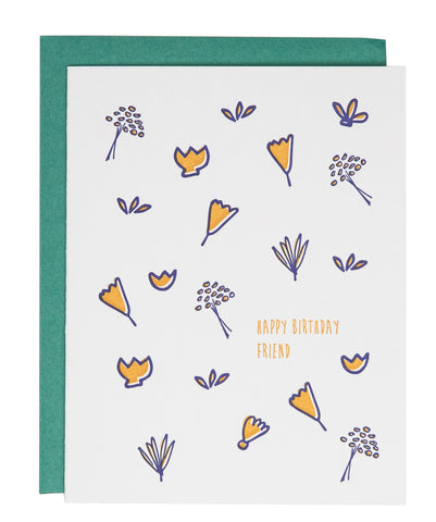 Bday Friend Flowers Card