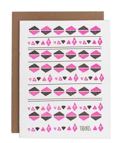 Pink and Black Thanks card