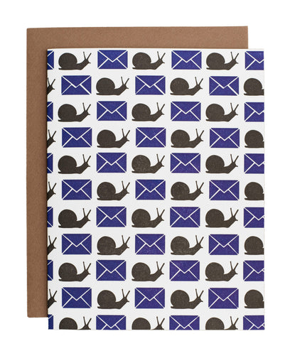 Blue Envelopes and Snails card