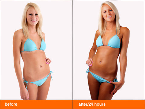 >Before and After Sunless Tanning