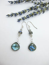 Load image into Gallery viewer, Bijoux: Labradorite Earrings - e466