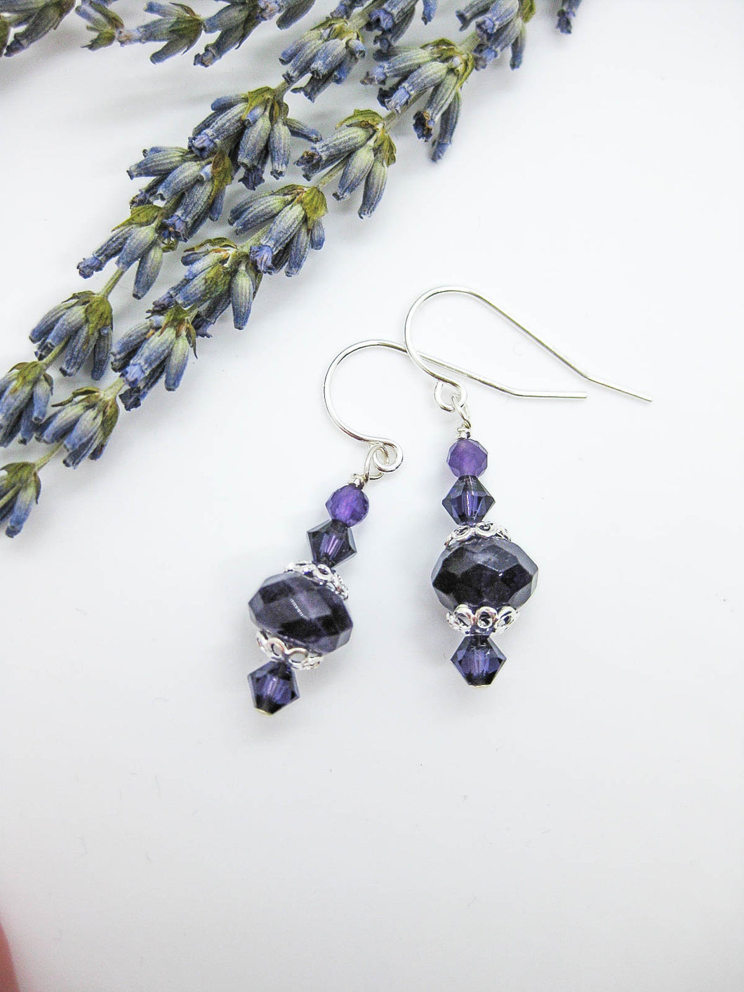 Dahlia: Amethyst Earrings, Small - e477s