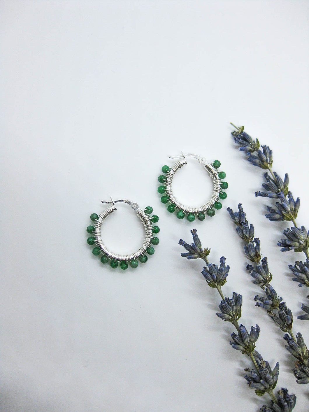 Jade Hoop Earrings - e510