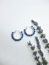 Load image into Gallery viewer, Lapis Hoop Earrings - e512