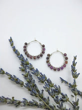 Load image into Gallery viewer, Ruby Hoop Earrings - e514