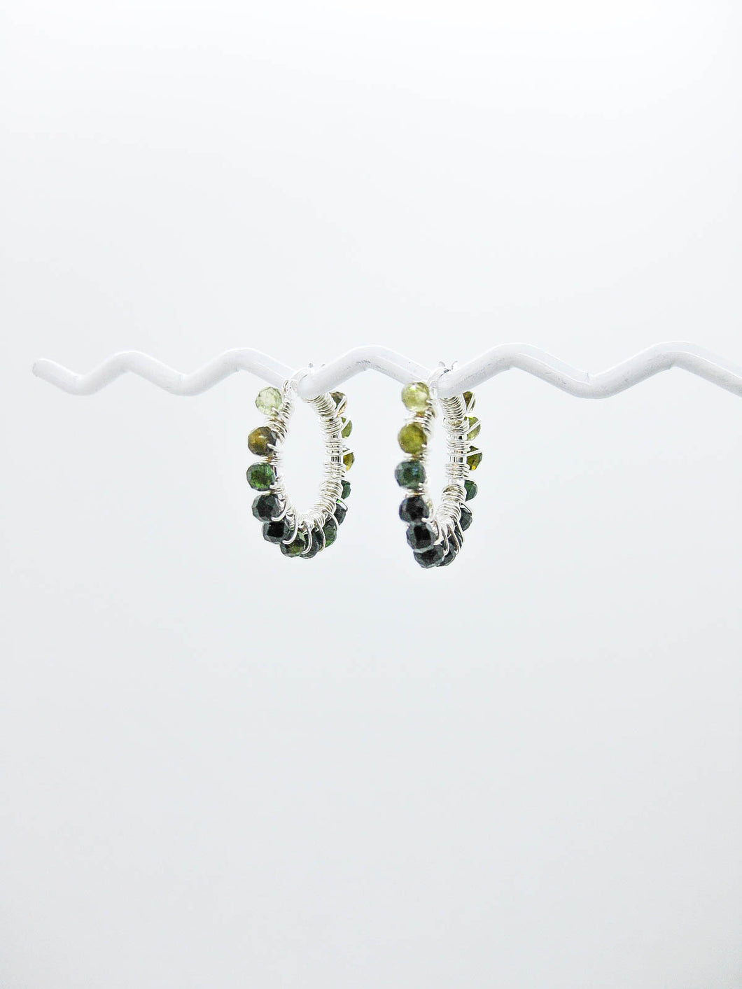 Green Tourmaline Hoop Earrings - e515