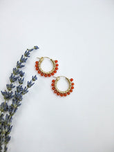 Load image into Gallery viewer, Carnelian Hoop Earrings - e524