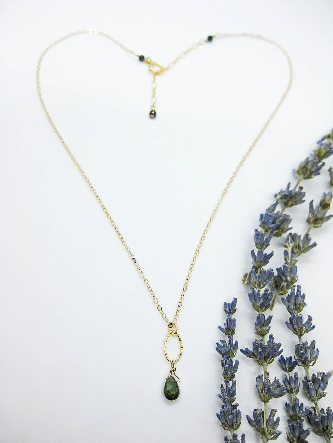 Chrysanthe: Green Tourmaline Necklace - n407