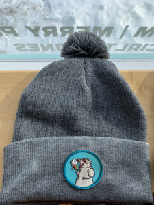 Dark Grey Toque with Blue Patch & Pom Pom! Trash Panda Toques!