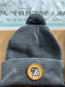Dark Grey Toque with Yellow Patch & Pom Pom! Trash Panda Toques!