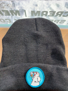 Charcoal Grey Beanie with Blue Patch Trash Panda Toques!