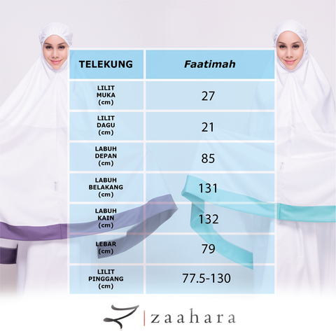 Measurement of Telekung Cotton Putih Telekung Faatima