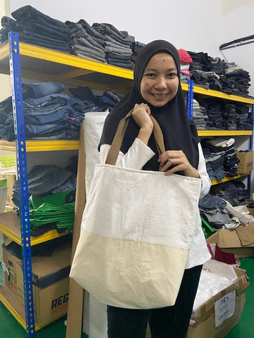 upcycling telekung tote bag 2