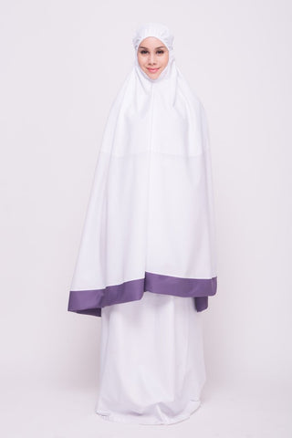 White pastel cotton telekung