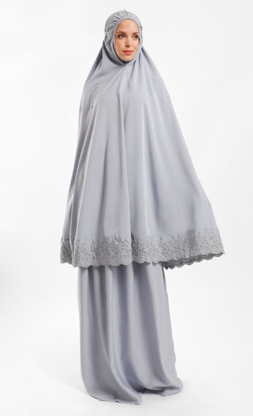 Telekung Dhiya in Light Grey