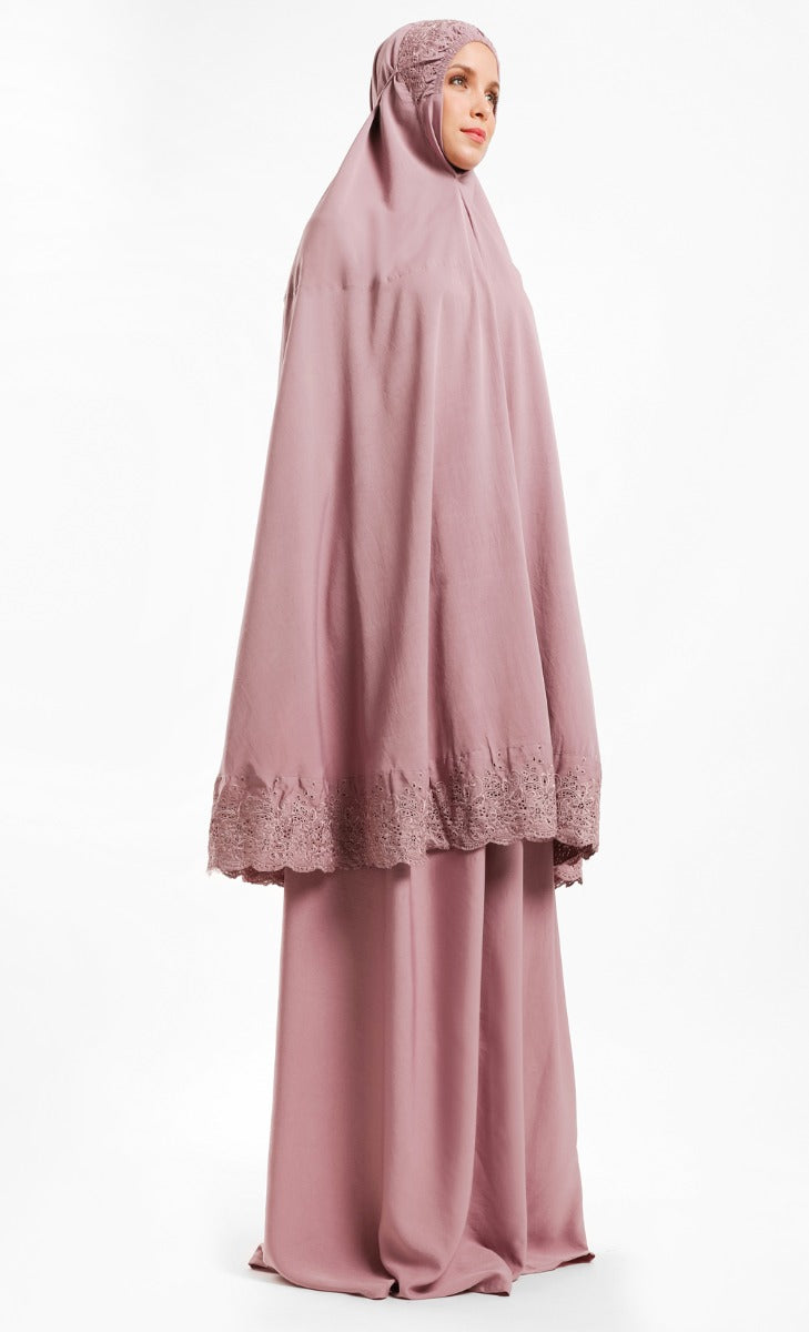 Telekung Dhiya in Dusty Pink