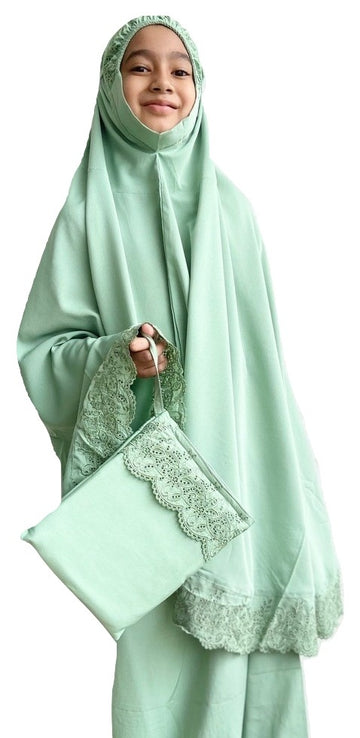 Kids Prayer Wear - Little Miss Dhiya in Green