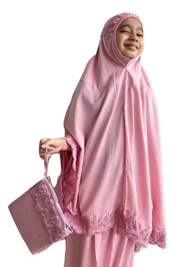 Kids Prayer Wear - Little Miss Dhiya in Dusty Pink