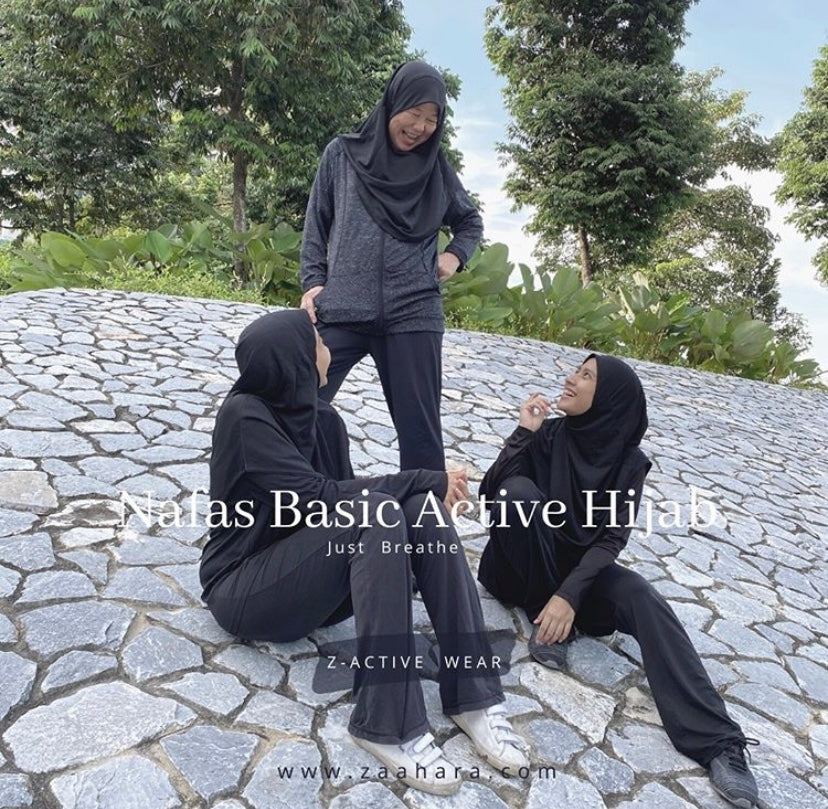 Basic black sports hijab - breathable and comfortable