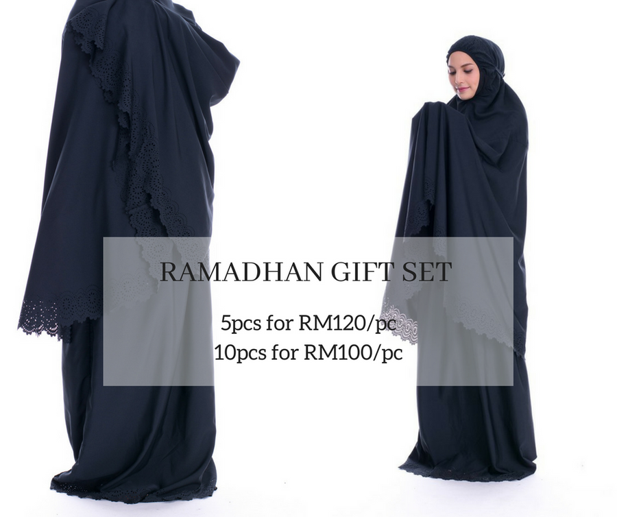 Ramadhan gifts set - telekung cotton murah warna hitam