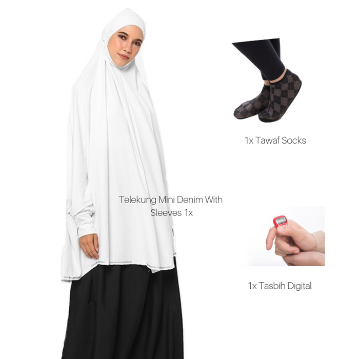 Telekung Mini Denim with sleeve suitable for Hajj and Umrah