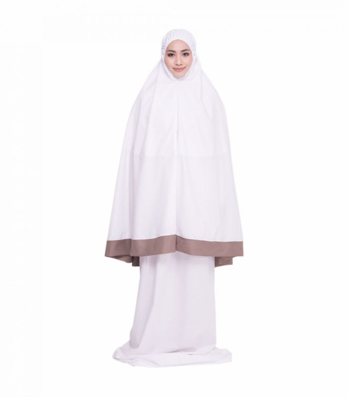 Telekung Cotton - Telekung Faatima (Pure White + Brown Border)