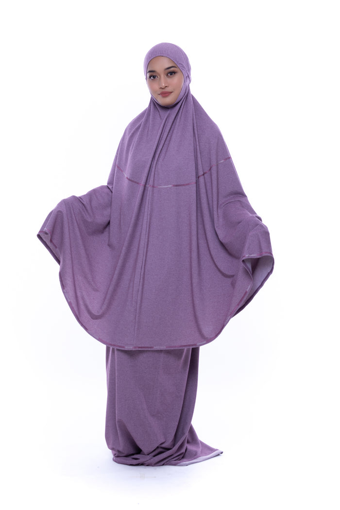 Telekung Deena Denim - Purple