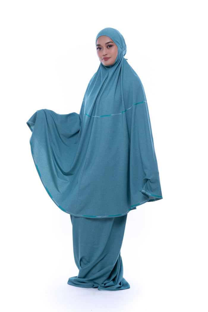 Telekung Deena Denim - Aqua Green