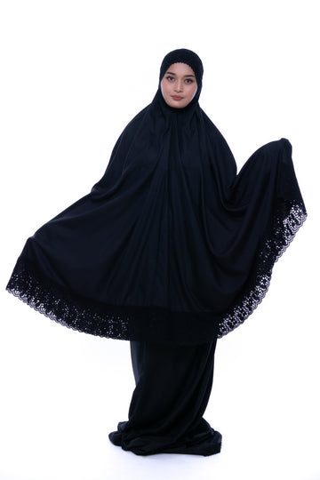 Telekung Qarira in Black