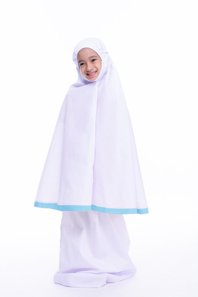 Kids Telekung - Little Miss Alya - Powder Blue