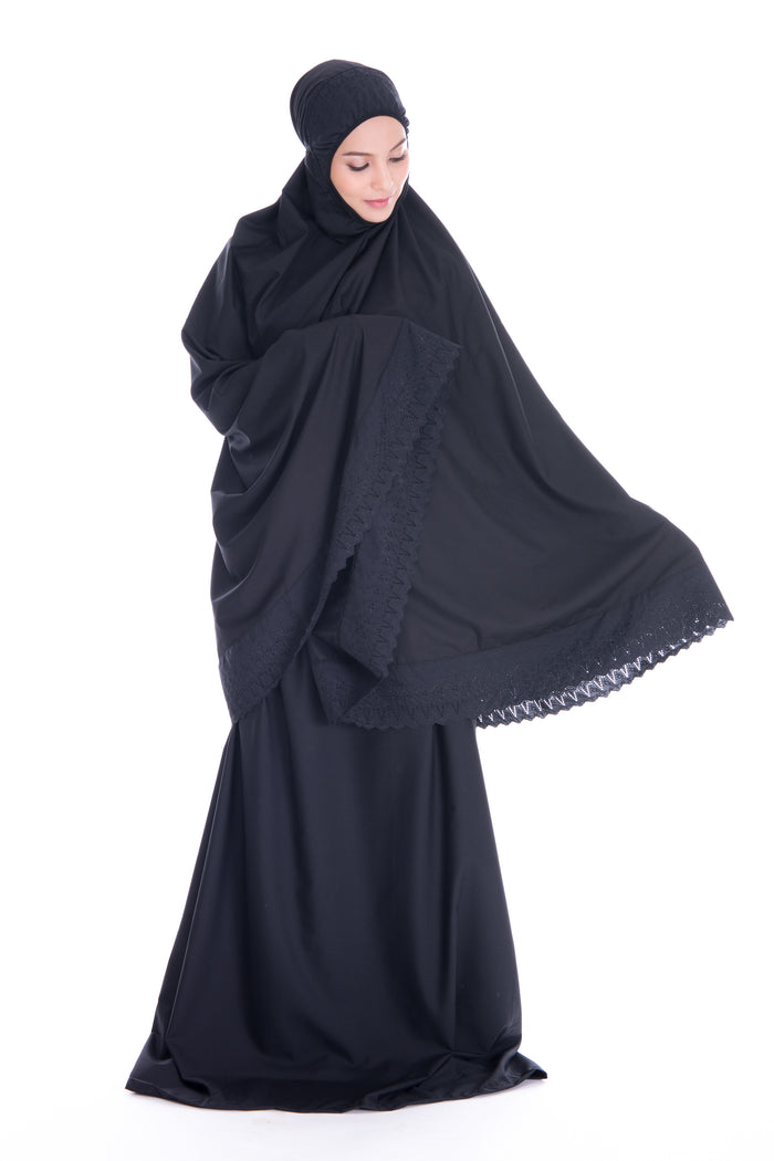 Telekung Soraya - Black (Normal - No Pocket)
