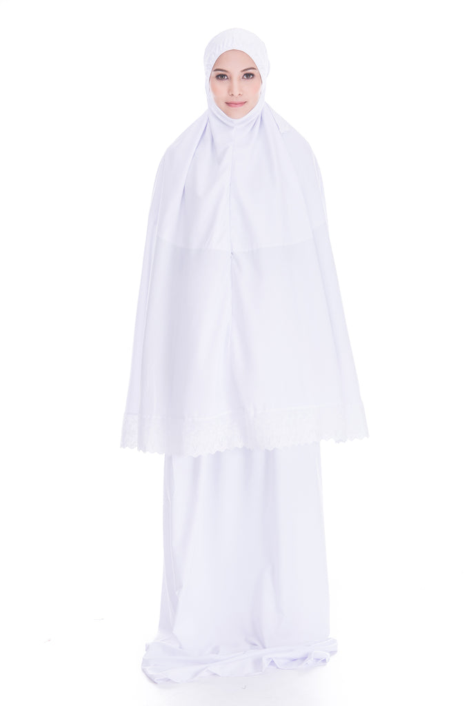 Telekung Soraya - White (with pocket)