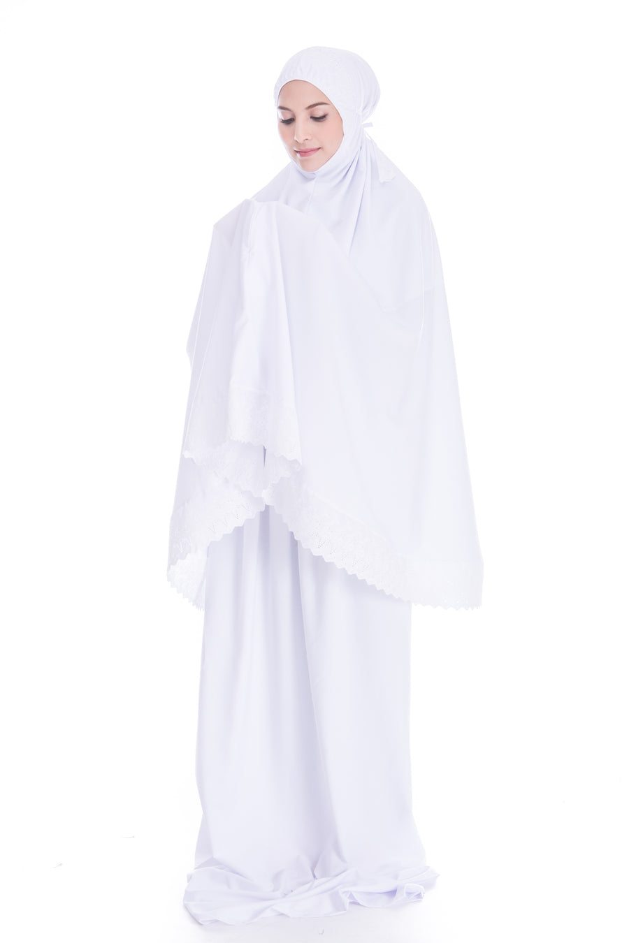 Telekung Soraya - White (Normal - No Pocket)