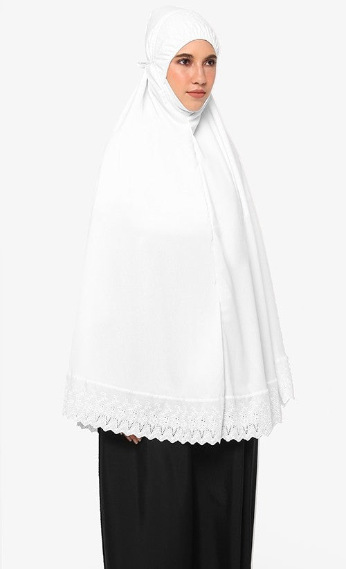 Telekung Mini Soraya - White (with Pocket)